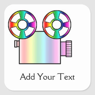 Rainbow Movie Camera on White Square Sticker