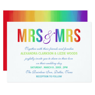 Rainbow Mrs & Mrs | Lesbian Wedding Invitation