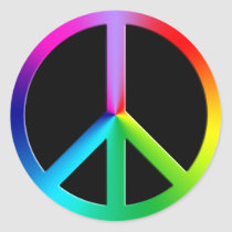 Rainbow multi color peace symbol classic round sticker