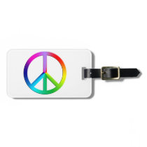 Rainbow multi color peace symbol luggage tag