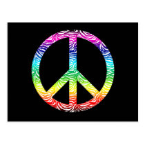 Rainbow multi color peace symbol postcard