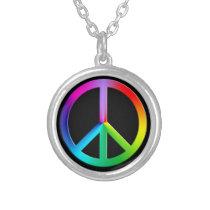 Rainbow multi color peace symbol silver plated necklace