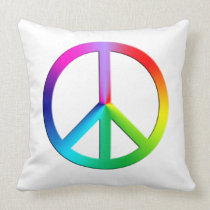 Rainbow multi color peace symbol throw pillow