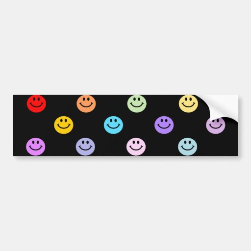 Rainbow Multicolor Smiley Face Pattern Car Bumper Sticker