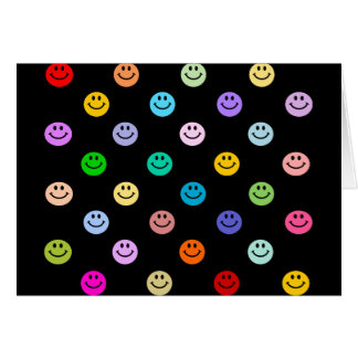 Rainbow Multicolor Smiley Face Pattern Greeting Cards