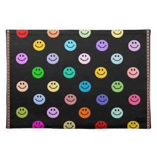 Rainbow Multicolor Smiley Face Pattern Cloth Placemat