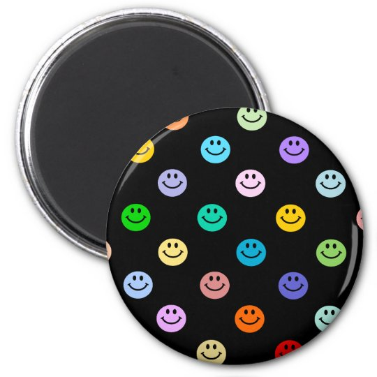 Rainbow Multicolor Smiley Face Pattern Magnet