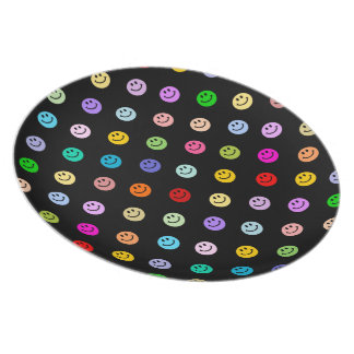 Rainbow Multicolor Smiley Face Pattern Dinner Plate