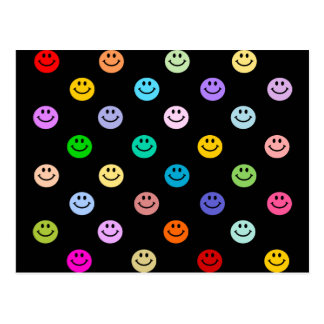 Rainbow Multicolor Smiley Face Pattern Post Card