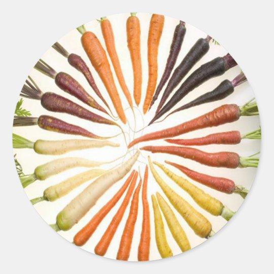Rainbow Multicolored Carrots Classic Round Sticker