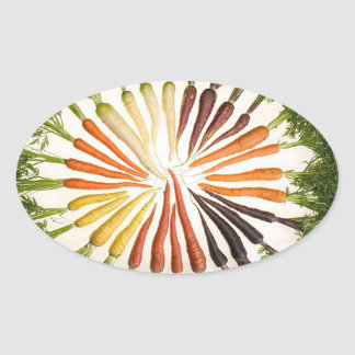 Rainbow Multicolored Carrots Oval Stickers