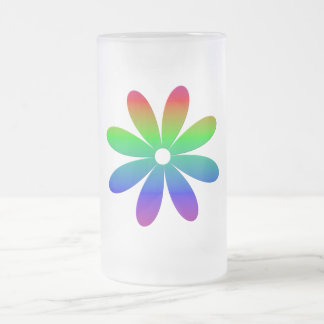 Rainbow Multicolored Flower Frosted Glass Beer Mug