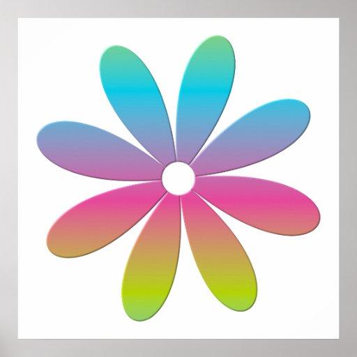 Rainbow Multicolored Flower Poster