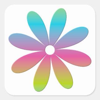 Rainbow Multicolored Flower Square Sticker