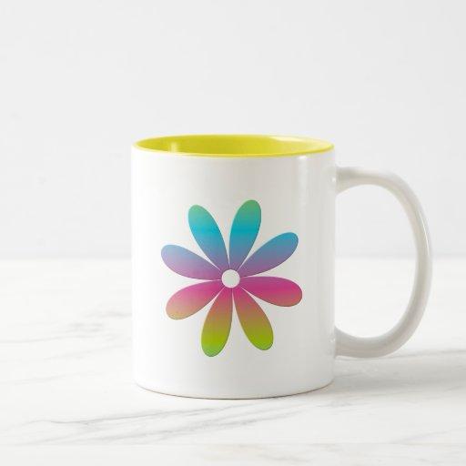 Rainbow Multicolored Flower Two-Tone Coffee Mug