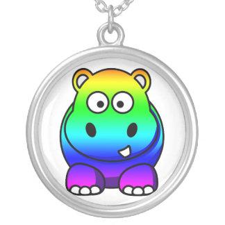 Rainbow Multicolored Hippo Necklace
