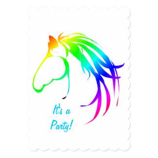 "Rainbow Multicolored Horse Birthday Custom Invite 5"" X 7"" Invitation Card"