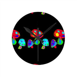 Rainbow Mushrooms Digital Painting Round Clock