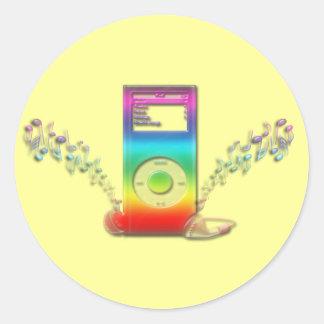 Rainbow Music Classic Round Sticker