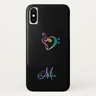Rainbow Music Clef Heart iPhone X Case