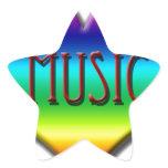 Rainbow Music Heart for Music Teachers Gifts Star Sticker