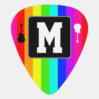 rainbow music initial personalized guitar pick