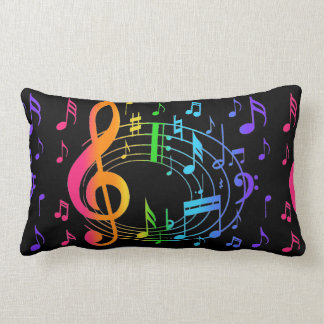 Rainbow Music Note Girl Blacklight Florescent Neon Lumbar Pillow