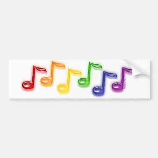 Rainbow Music Notes Bumper Sticker
