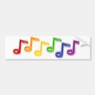 Rainbow Music Notes Bumper Sticker Car Bumper Sticker