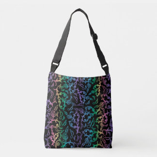 Rainbow Music Notes Pattern On Black Tote Bag