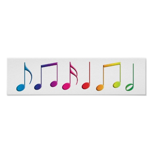 Rainbow Music Notes Poster