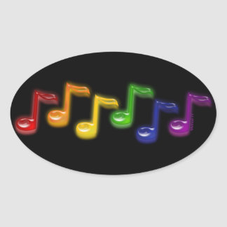 Rainbow Music Notes Stickers