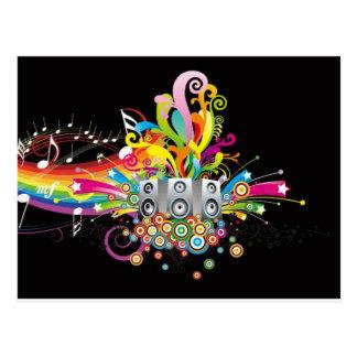 rainbow music theme postcard