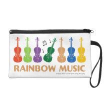 rainbow music wristlet purse