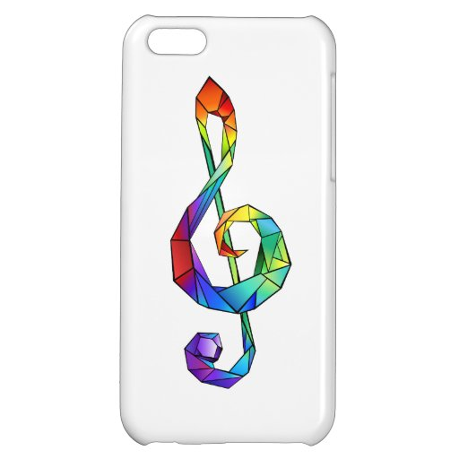 Rainbow musical key treble clef case for iPhone 5C