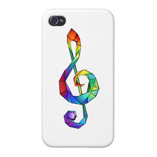 Rainbow musical key treble clef case for iPhone 4