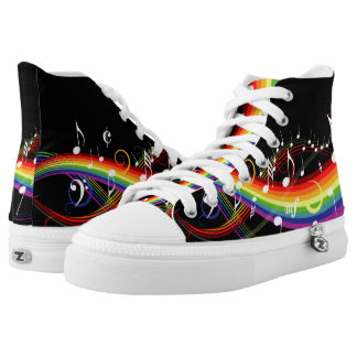 Rainbow Musical notes high top sneakers Printed Shoes