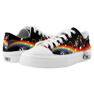 Rainbow Musical notes low top sneakers Printed Shoes
