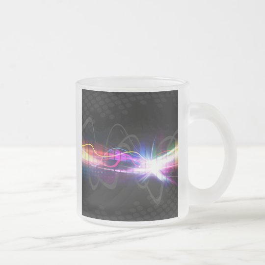 Rainbow Musical Wave Form Frosted Glass Coffee Mug