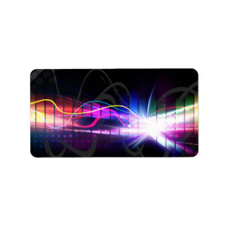 Rainbow Musical Wave Form Address Label