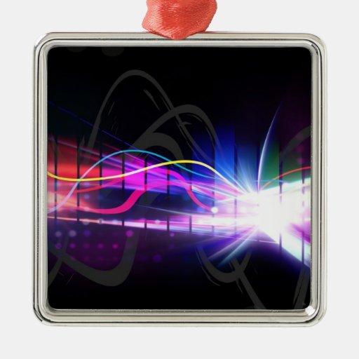 Rainbow Musical Wave Form Square Metal Christmas Ornament