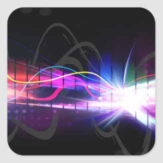 Rainbow Musical Wave Form Square Stickers