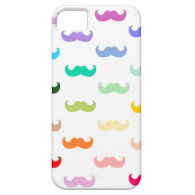 Rainbow Mustache pattern on white iPhone 5 Case