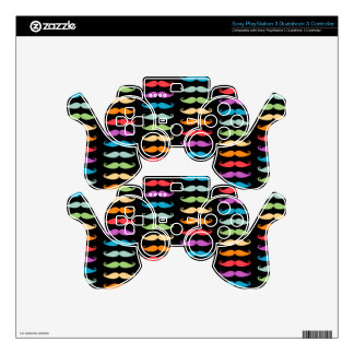 Rainbow Mustaches PS3 Controller Decal