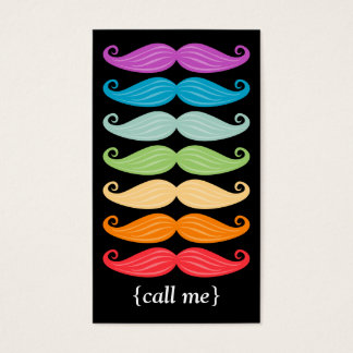 Rainbow Mustaches Vertical Bizcard Business Card