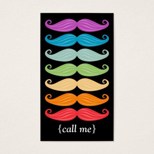 Rainbow Mustaches Vertical Bizcard Business Card