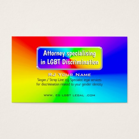 Rainbow Nameplate LGBT Attorney Law Services Business Card