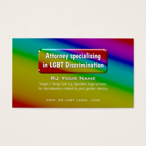 Rainbow Nameplate LGBT Attorney Services Business Card