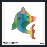 """rainbow Narwhal Wall Sticker<br><div class=""""desc"""">A cute drawing of a rainbow narwhal</div>"""