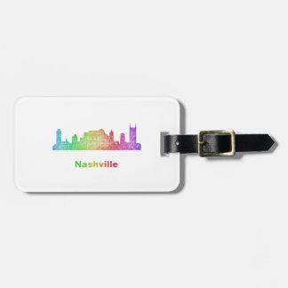 Rainbow Nashville skyline Bag Tag